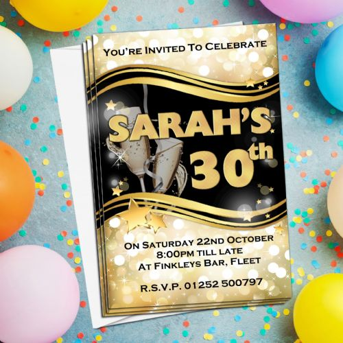 10 Personalised Black & Gold Sparkle Birthday Party Invitations N200